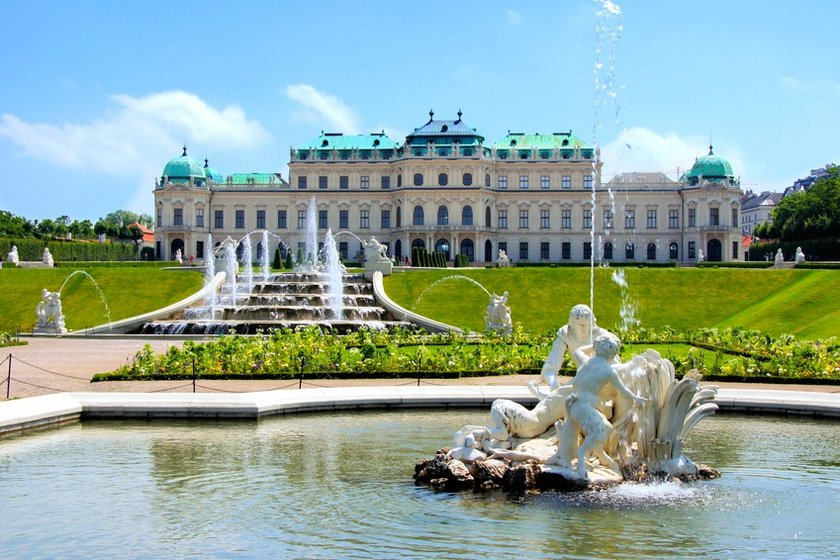 Royal castle in Vienna with its park