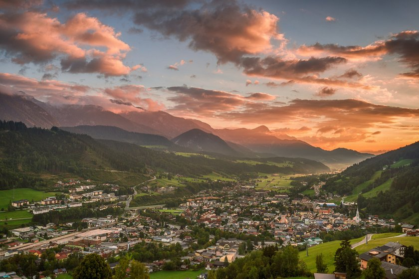 Summer in Schladming with the sunset and pink clouds