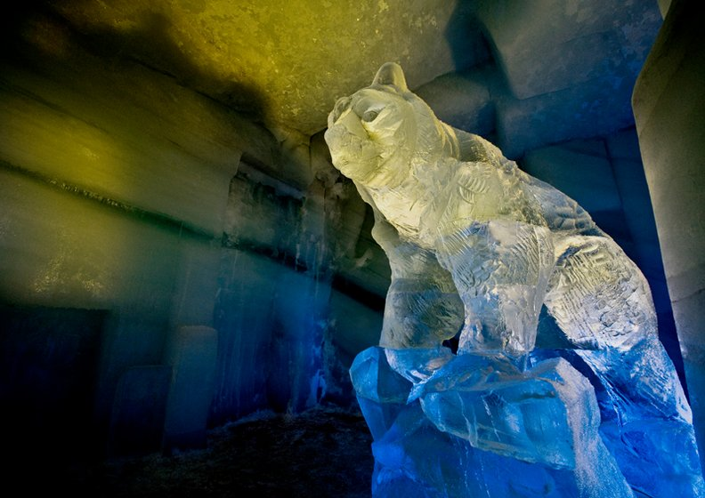 Art with ice, bear made out of ice